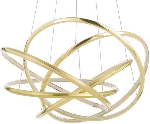 LED Pendelleuchte Saturn, Lampenschirm: Aluminium, pulverbeschich, Baldachin: Stahl, vermessingt, Goldfarben, Ø 72 x H 75 cm