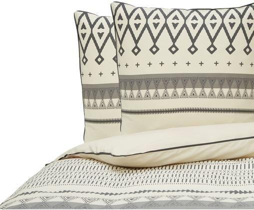 Parure de lit réversible en coton Hippie Chik, Beige, gris