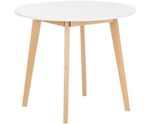 Petite table ronde scandinave Raven, Blanc, bois de bouleau, matière brute