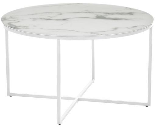 Mesa de centro Antigua, tablero de vidrio, Tablero: vidrio estampado en efect, Estructura: acero con pintura en polv, Mármol blanco grisaceo, blanco, Ø 80 x Al 45 cm