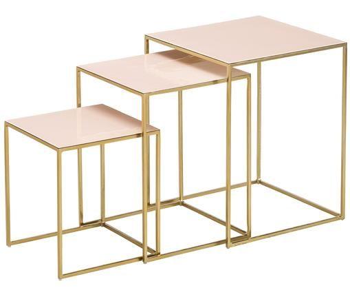 Komplet stolików pomocniczych Amalia, 3 elem., Stelaż: metal malowany proszkowo, Blaty: jasny różowy Stelaż: odcienie złotego, Różne rozmiary