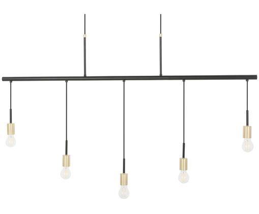 Hoge hanglamp Lars, Fitting: geborsteld metaal, Zwart, goudkleurig, B 142 x D 8 cm