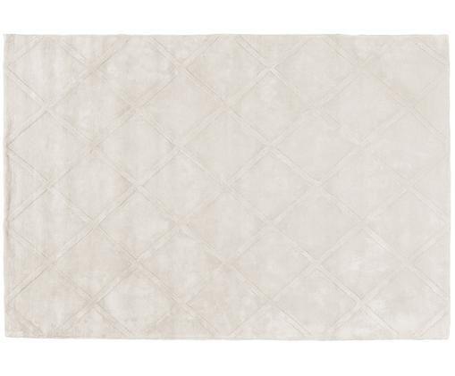 Handgetufteter Viskoseteppich Madeleine in Creme mit Rautenmuster, Creme