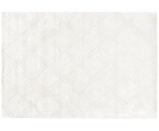 Handgetufteter Viskoseteppich Shiny in Creme mit Rautenmuster, Creme