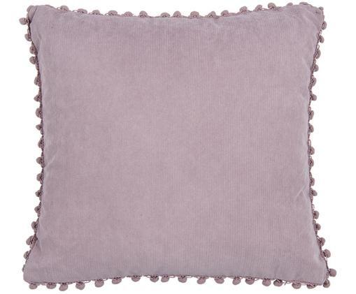 Kissenhülle Aubero in Hellem Lila mit Pompoms, 85% Polyester, 15% Nylon, Lila, 45 x 45 cm