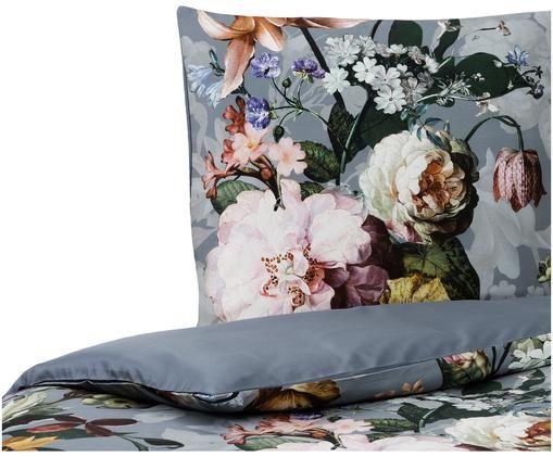 Baumwollsatin-Bettwäsche Fleur mit Blumenmuster, Blassblau, Mehrfarbig