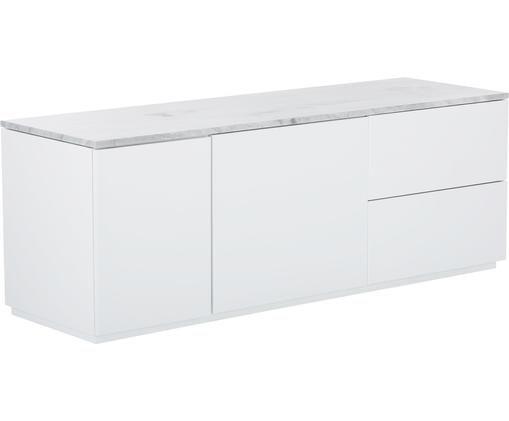 Tv-meubel Join met wit-grijs gemarmerd tafelblad, Plank: marmer, Frame: gelakt MDF, Wit, 160 x 59 cm