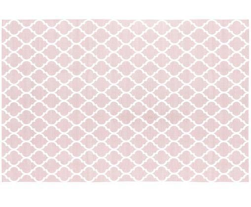 Ručně tkaný bavlněný koberec Amira, Růžová, krémově bílá