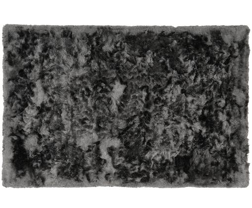 Tapis gris foncé à longs poils irréguliers Jimmy, Gris foncé