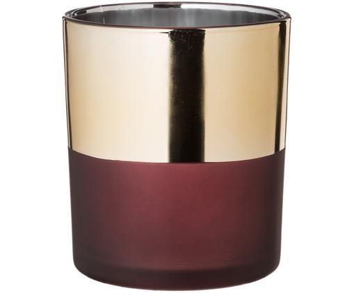 Teelichthalter Glass, Goldfarben, Weinrot