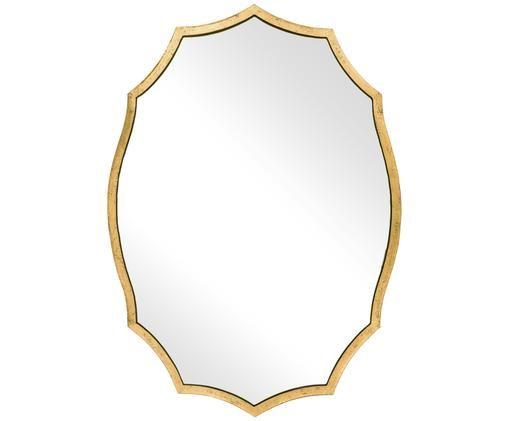 Specchio da parete Crown, Cornice: ferro con rivestimento in, Superficie dello specchio: lastra di vetro, Dorato, L 66 x A 91 cm
