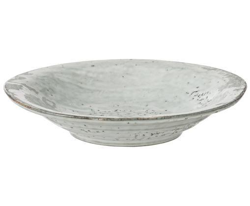 Suppenteller Rustic, 4 Stück, Porzellan, Hellgrau, Grün, Ø 25 cm