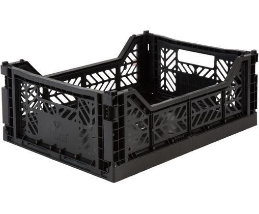 Cesta media pieghevole ed impilabile Midi, Materiale sintetico riciclato, Nero, Larg. 40 x Alt. 14 cm