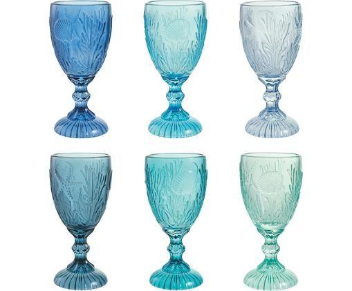 Weingläser Pantelleria mit Muschelrelief in Blautönen, 6er-Set, Glas, Blautöne, Ø 8 x H 17 cm
