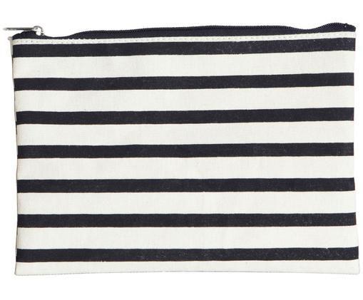 Make-up tas Stripes, 38%katoen, 40%polyester, 22%rayon, Zwart, wit, 21 x 15 cm