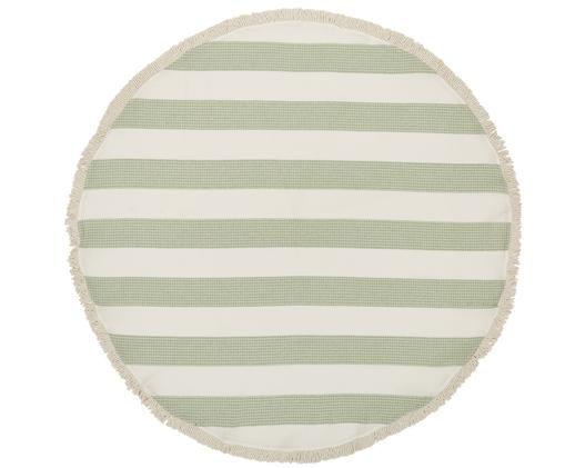Okrągły ręcznik plażowy Lago, Bawełna, Niska gramatura 320g/m², Zielony, biały, Ø 150 cm
