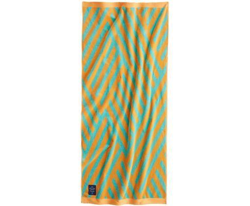 Gemustertes Strandtuch Bonsall in Türkis/Orange, Bio-Baumwolle, GOTS-zertifiziert, mittelschwere Qualität, 450 g/m², Orange, Türkis, 80 x 180 cm