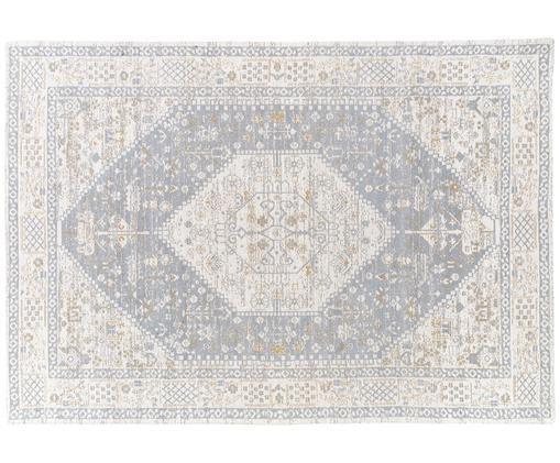 Handgeweven chenille vloerkleed Neapel in vintage stijl, Bovenzijde: 95% katoen, 5% polyester, Onderzijde: 100% katoen, Lichtgrijs, crèmekleurig, taupe, 160 x 230 cm