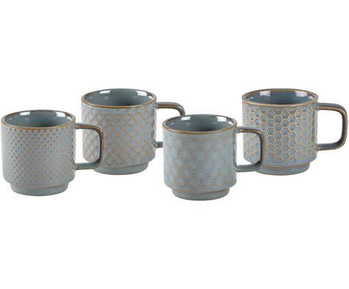 Espressotassen-Set Lara, 4-tlg., Steingut, Blaugrau, Braun, Ø 6 x H 6 cm