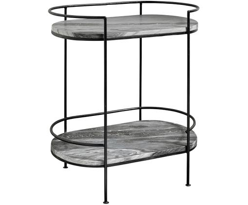 Tavolino in marmo Midnight, Struttura: metallo verniciato, Piano d'appoggio: marmo, Struttura: nero Piano d'appoggio: grigio marmorizzato, Larg. 74 x Prof. 48 cm
