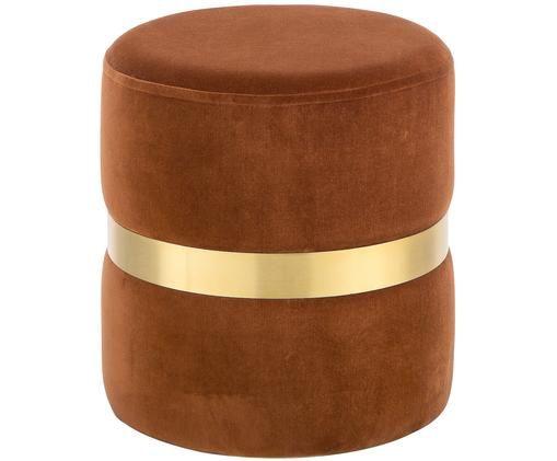 Samt-Hocker Hazel, Bezug: Baumwollsamt, Rostorange, Goldfarben, ∅ 38 x H 43 cm