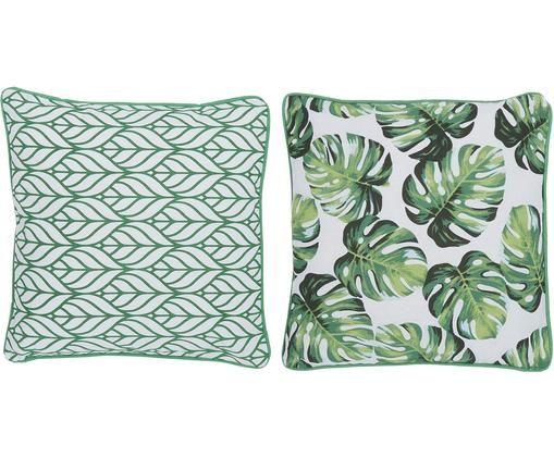 Set di 2 cuscini Tropica, con imbottitura, Verde, bianco