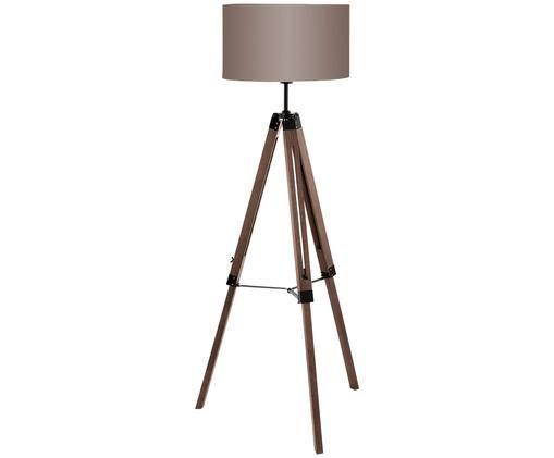 Lampa podłogowa z drewna z regulacją wysokości Matilda, Podstawa lampy: drewno orzecha włoskiego, czarny Klosz: taupe, Ø 70 x W 150 cm