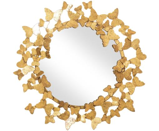 Specchio da parete Butterfly, Cornice: metallo, Superficie dello specchio: lastra di vetro, Dorato, Ø 67 cm