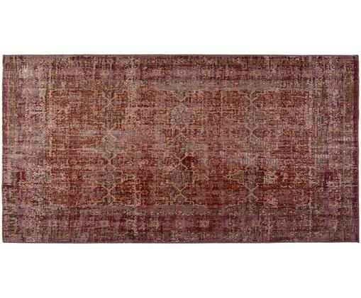 Vintage in- en outdoor vloerkleed Tilas Izmir in donkerrood, Donkerrood, mosterdgeel, kakigroen, B 80 x L 150 cm (maat XS)