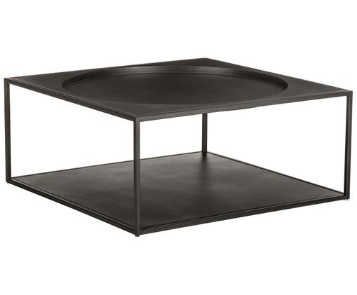Tavolino da salotto nero Coffee in acciaio, Nero opaco