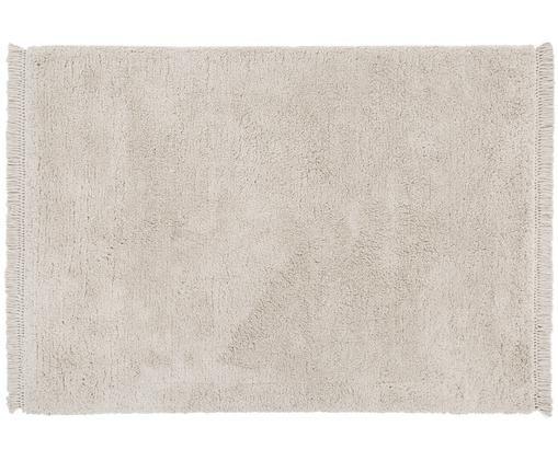 Handgetuft vloerkleed Dreamy, Bovenzijde: 100% polyester, Onderzijde: 100% katoen, Crèmekleurig, 120 x 180 cm