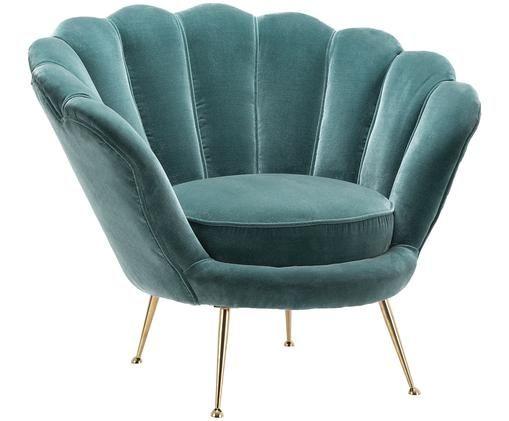 Fluwelen fauteuil Trapezium in turquoise