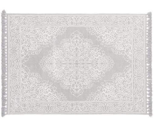 Alfombra artesanal de algodón con borlas Salima, Algodón, Gris claro, crema, An 200 x L 300 cm (Tamaño L)