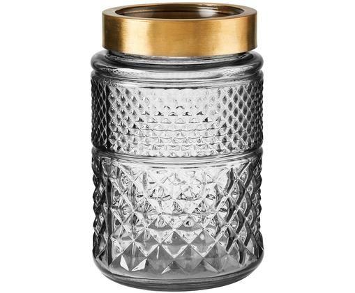 Glas-Vase Grace, Glas, Metall, beschichtet, Grau, transparent, Messingfarben, Ø 13 x H 20 cm