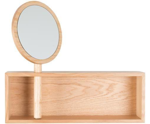 Półka ścienna Kandy, Drewno dębowe, szkło lustrzane
