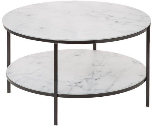 Tavolino da salotto con piano in vetro Antigua, Lastre di vetro: bianco , marmorizzato Montatura: nera, lucida, Ø 80 x Alt. 45 cm