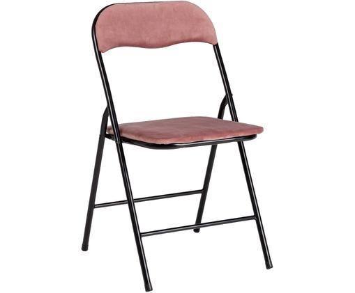 Krzesło składane z aksamitu Amal, Tapicerka: aksamit poliestrowy, Stelaż: metal powlekany, Różowy, czarny, S 44 x G 44 cm