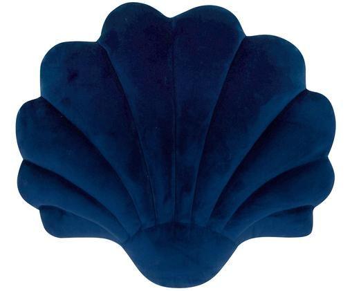 Coussin en velours Shell, Bleu foncé