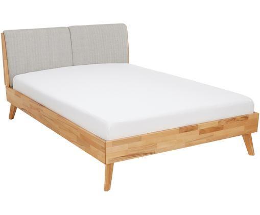 Massief houten bed Simone met gestoffeerd hoofdeinde, Grijs, beukenhoutkleurig