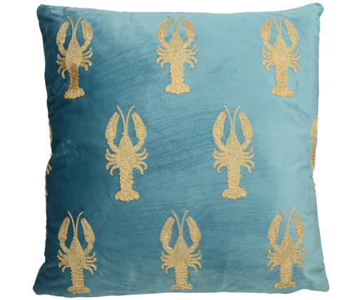 Cuscino in velluto ricamato con imbottitura Lobster, Velluto, Blu, oro, Larg. 45 x Lung. 45 cm