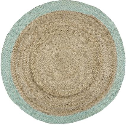 Runder Jute-Teppich Shanta mit mintgrünem Rand, handgefertigt