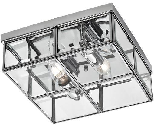Plafonnier en métal chromé Ben, Chrome, transparent