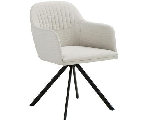 Krzesło obrotowe Lola, Tapicerka: ecru Nogi: czarny, matowy.