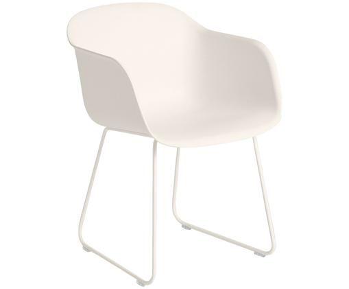 Armlehnstuhl Fiber mit Kufengestell, Sitzfläche: Kunststoff mit 25% Holzfa, Beine: Stahl, pulverbeschichtet, Weiß, 51 x 77 cm