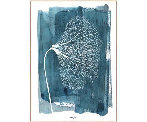 Zarámovaný digitální tisk White Ginko, Modrá, bílá