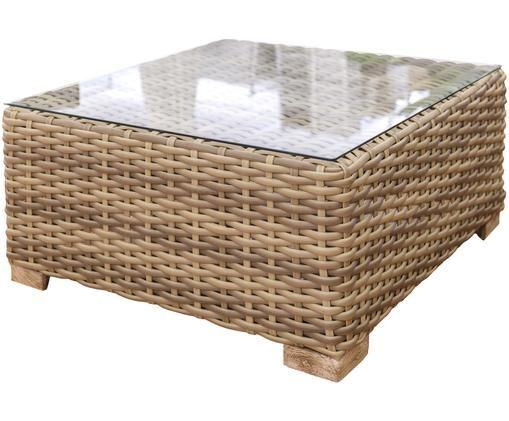 Tavolino da salotto da esterni Saba, Struttura: alluminio, Gambe: legno di acacia, solido, Piano d'appoggio: vetro, Marrone, Larg. 80 x Alt. 38 cm
