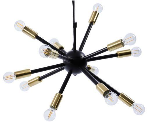 Suspension en métal moderne Spike, Noir, couleur dorée