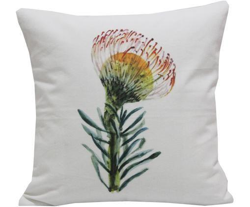 Poszewka na poduszkę Flora, Bawełna, Biały, wielobarwny, S 45 x D 45 cm