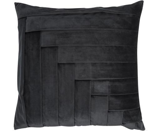 Cuscino in velluto Kinga, con imbottitura, Rivestimento: velluto di poliestere, Nero, Larg. 45 x Lung. 45 cm