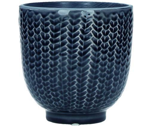 Handbeschilderde plantenpot Cocooning, Donkerblauw